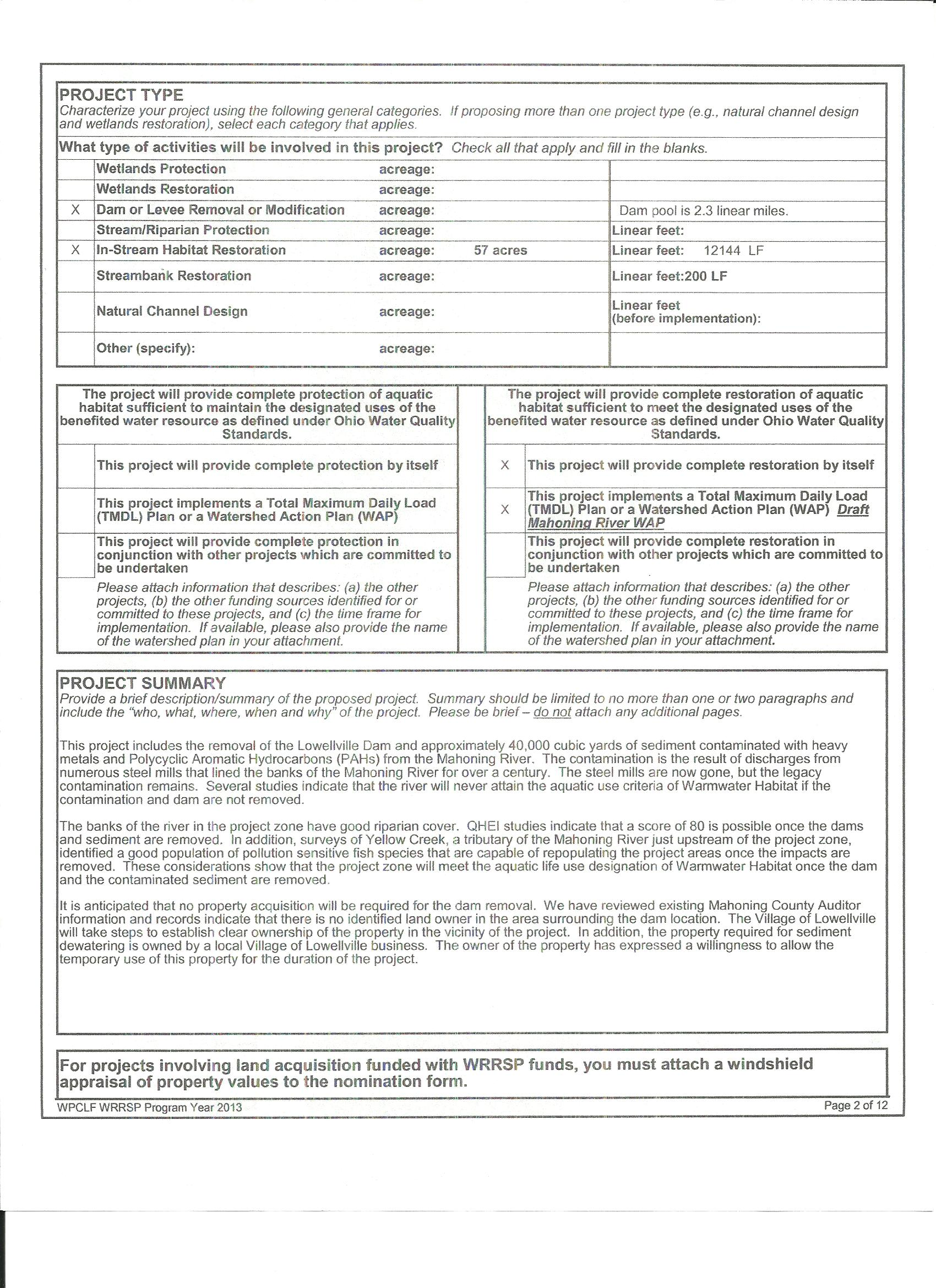 Pollution Control Nomination Form | Village of Lowellville